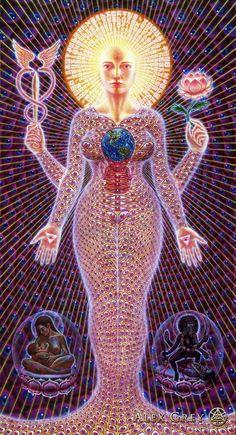 Alex Grey: Sophia  1989, Acrylic On Canvas, 84 x 46 in.