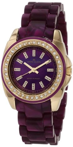 AK Anne Klein Women's 10/9668PMPR Swarovski Crystal Accented Purple Marbleized Gold-Tone Bracelet Watch