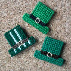 "Plastic Canvas: Saint Pat's Hats Magnets (set of 3)  -- ""Ready, Set, Sew!"" by Evie"