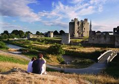Visitors admiring Trim Castle in County Meath
