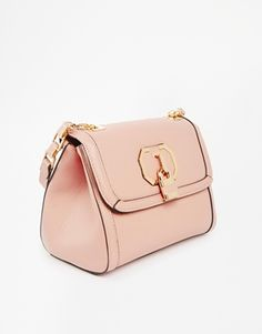 River Island Cream Shoulder Bag with Padlock Front