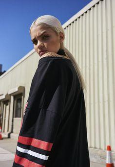 Missguided - Robe oversize noire imprimé Illinois