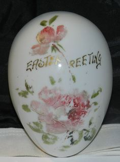 """Antique Victorian Era Blown Glass Easter Egg Hand Painted Flowers  6"""" Long $25.00 OBO + $7.50 Shipping"""