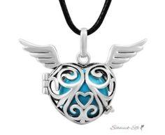 Anhänger Harmony Flying Heart  Klangkugel  Himmelblau...