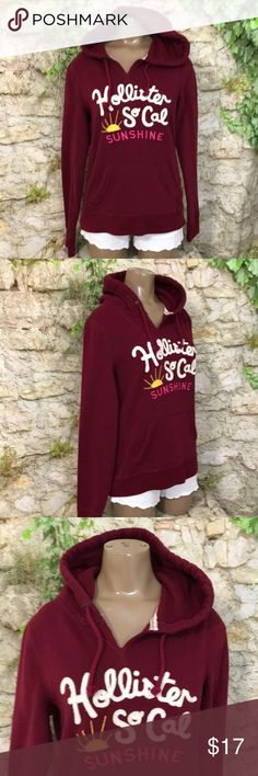 Hollister hoodie maroon L Hollister hoodie  Size  L eUC Smoke free and pet free home and packaged with care! Tops Sweatshirts & Hoodies