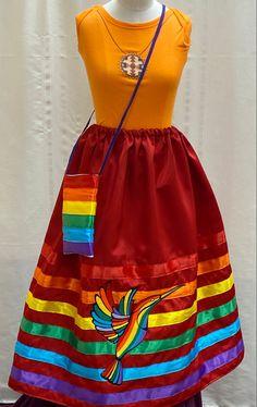 Native American Clothing, Native American Fashion, Dance Outfits, Girl Outfits, Jingle Dress, Native Wears, Tunic Sewing Patterns, Rainbow Ribbon, Ribbon Skirts