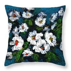 Flowers Throw Pillow featuring the painting Flowers On Blue Background by Cuiava Laurentiu Painting Flowers, Pillow Sale, Poplin Fabric, Blue Backgrounds, Fine Art America, Throw Pillows, Random, Prints, Pictures