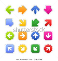 Look more my images http://www.shutterstock.com/gallery-498844.html — Color stickers arrow sign. Satined shapes with gray drop shadow on white background. This vector illustration design element saved in EPS 10 — #Royalty #free #stock #photo #illustration for $0.28 per download http://submit.shutterstock.com/?ref=498844