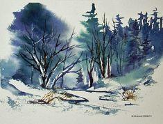 watercolor winter scenes   Winter Scenes Watercolour Painting Pic #17