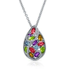 Multi-Gemstone Teardrop Pendant in Sterling Silver available at #HelzbergDiamonds