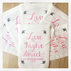 Checkout these adorable late night snack favor bags...perfect to stuff treats in for your bridal party or wedding guests! #bridalparty #bridalpartygift #bridesmaids #wedding #weddinggift #weddingfavor #weddingideas #weddinginspiration #snack #latenight #weddingtreats #favorbag #goodiebag #swagbag #ilulilydesigns