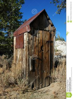outhouses pictures | Abandoned Wooden Privy with Classic Crescent Moon Cut In Door and ...