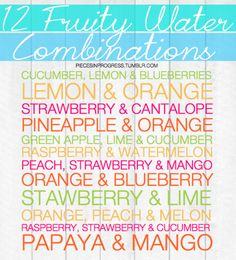 flavored water combos to help you stay hydrated. Good for when you get tired of just drinking water Zlochin Brown Yummy Drinks, Healthy Drinks, How To Stay Healthy, Healthy Snacks, Healthy Recipes, Juice Smoothie, Smoothie Drinks, Detox Drinks, Smoothies