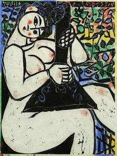 Shiko Munakata (Japanese: Seated lady with musical instrument, Woodcut and handcoloring, Art And Illustration, Illustrations, Japanese Prints, Japanese Art, Figurative Kunst, Art Moderne, Art For Art Sake, 2d Art, Watercolor Print