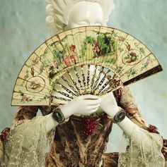 Every 18th c lady was adept at using her fan for a multitude of purposes. Fan & Robe a la Francaise, 1760s, French, Kyoto Costume Institute.