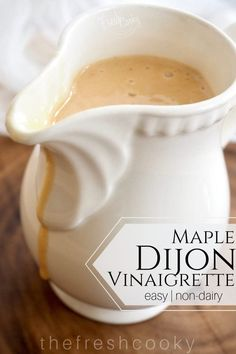 An easy, delicious, creamy (non-dairy) salad dressing, this maple dijon vinaigrette is loaded with bright and lively flavors. Vinaigrette Salad Dressing, Dressing Recipe, Salad Dressings, Easter Side Dishes, Easter Lunch, Vegetarian Curry, Braised Beef, Easy Weeknight Meals, Spring Recipes