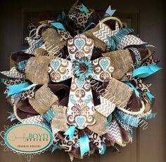 Western Rustic Brown and Turquoise, Leopard print and Burlap Cross wreath by Jennifer Boyd Designs.   #hobbylobby #jenniferboyddesigns www.facebook.com/JenniferBoydDesigns www.etsy.com/shop/JenniferBoydDesigns