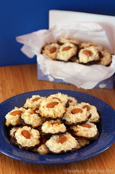 Almond Joy Macaroons (Recipe calls for sweetened condensed milk--perhaps coconut milk sweetened would work?  And use Enjoy Life chocolate for the chocolate part.)