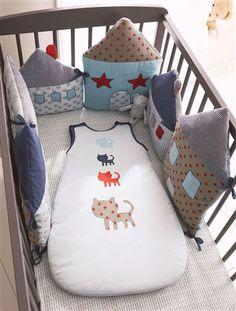 Tour de lit bébé modulable thème miaou BLEU - vertbaudet enfant