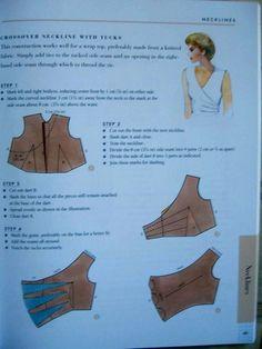 Dart - neckline - top women COTURAR - costurar com amigas - Picasa Webalbums Bodice Pattern, Collar Pattern, Pattern Cutting, Pattern Making, Sewing Tutorials, Sewing Projects, Clothing Patterns, Sewing Patterns, Modelista