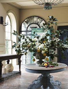 Home design and interior decorating is what VERANDA magazine is all about. Decor, Veranda Magazine, Interior, Seasonal Decor, Winter Floral Arrangements, Round Foyer Table, Home Decor, Interior Design, Entryway Style