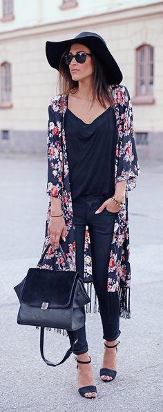 Black w/ long floral kimono + hat