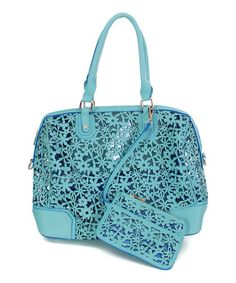 Another great find on #zulily! Retro Mint Floral Petals Cutout Satchel & Coin Purse by Pink Cosmo #zulilyfinds