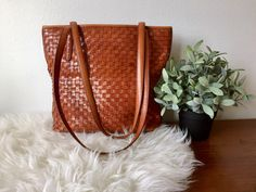 Woven Brown Leather Bucket Bag / Cognac Brown Leather Handbag / Woven Leather Shoulder Bag / Brown Leather Purse / Cognac Bohoemian Tote by ShopRachaels on Etsy https://www.etsy.com/listing/511641919/woven-brown-leather-bucket-bag-cognac