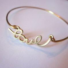 Gold love bangle bracelet gold charm script - stackable bangle charm bracelet - valentine's day jewelry - bridesmaid gift - gift under 15