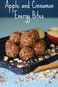 Apple and Cinnamon Energy Bites - Hungry Healthy Happy - - It's apple season and whilst an apple by itself makes a great snack, there is so much more that you can do with them. Make snack time all autumnal with these Apple and Cinnamon Energy Bites. Healthy Protein Snacks, Protein Bites, Healthy Dessert Recipes, Healthy Treats, Snack Recipes, Happy Healthy, Healthy Beach Snacks, Protein Deserts, Desserts