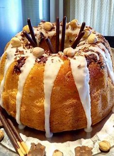 Fluffy hazelnut cake with icing and chocolate ., Food And Drinks, Fluffy hazelnut cake with icing and chocolate ! Greek Desserts, Greek Recipes, Sweet Loaf Recipe, Hazelnut Cake, Piece Of Cakes, Caramel Apples, Yummy Cakes, How To Make Cake, Icing
