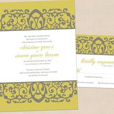 Yellow Scroll Modern Wedding Invitation & by MalloryHopeDesign, $34.00