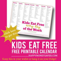 Save your family some $ by checking out restaurant deals for the kiddos. Kids Eat FREE List via Happy Money Saver