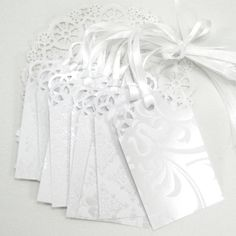 Wedding WiSH TREE Escort Cards- Tags (LARGE TAGS) White Elegance Collection- Wedding Shower- Wedding Decoration- Place Name Cards- Black Tie. $9.75, via Etsy.
