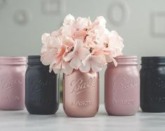 6 Dusty Rose, Navy Blue, and Rose Gold Wedding Decor Centerpiece Vases or Home and Office Decor Orga Navy Wedding Centerpieces, Gold Wedding Decorations, Mason Jar Centerpieces, Centerpiece Decorations, Wedding Ideas, Blue And Blush Wedding, Dusty Rose Wedding, Blush And Gold, Blush Pink