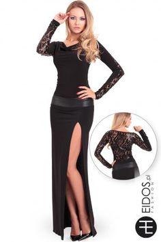 Długa czarna sukienka #koronkowa