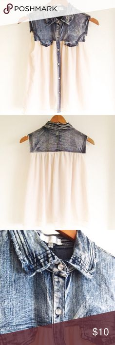 Denim & Cream Colored Tank Top Tank top with collar and button down. Looks adorable with jeans or a skirt! In great condition! Tops Tank Tops