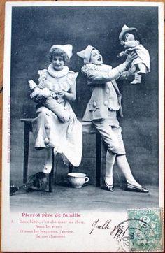 1902 Bergeret Postcard: Pierrot Clown Couple w/Baby Doll/Dolls, Mandolin
