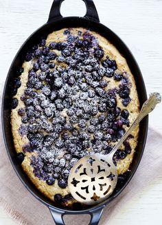 Blueberry and Ricotta Skillet Cake//