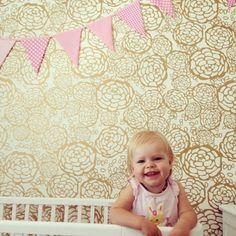 oh joy wallpaper in little Penelope's nursery