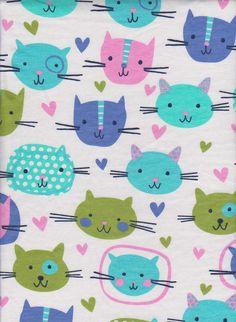 97f3bc768c8 Cute Cats on White Cotton Lycra Jersey Fabric [SKU:MFR2FAB001] by  BWDFabrics on