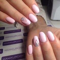 Everyday nails, Fashion nails 2017, Half-moon nails ideas, Manicure for young girls, Party nails, Pink and silver nails, Pink manicure ideas, ring finger nails