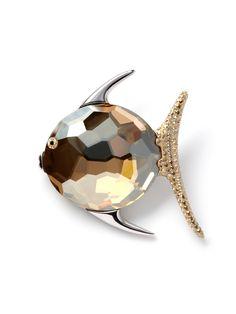 Golden Crystal Fish Pin by Swarovski Jewelry.