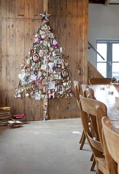 DIY: Collect Objects Christmas Tree - great way to display those special mementos collected. They could be wired onto a salvaged screen into a star shape. Inspiration.