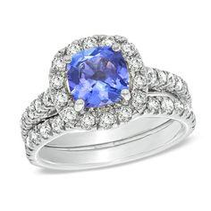 Certified Cushion-Cut Tanzanite and 1-1/2 CT. T.W. Diamond Bridal Set