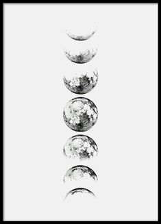 Moon Phase Gray, poster in the group Posters / Dimensions / at Desenio A . - Moon Phase Gray, poster in the group Posters / Dimensions / at Desenio AB - Body Art Tattoos, I Tattoo, Tatoos, Tattoo Moon, Moon Cycle Tattoo, Poster Shop, Poster Prints, Poster Poster, Wall Prints
