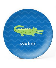 Loving this Blue Alligator Personalized Plate on #zulily! #zulilyfinds