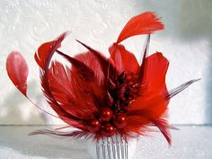 Red Feather Fascinator Comb Bridal Wedding Hair Piece. For the red wedding