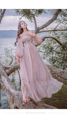 Tafforda 2017 Autumn New Literary Vintage Slash Collar Long Sleeved Strapless Female Dress Large Swing Vacation Fairy Dress Fairytale Dress, Fairy Dress, Beautiful Gowns, Beautiful Outfits, Robes D'occasion, Evening Dresses, Prom Dresses, Fantasy Gowns, Look Fashion