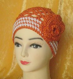 """Women/Teens Juliette Cap, crocheted in rust with cream stripes, straight edge and movable, matching rose (21""""-22"""")  #0143a"""